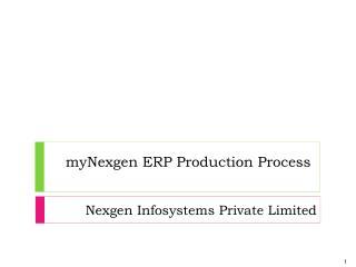 myNexgen  ERP Production Process