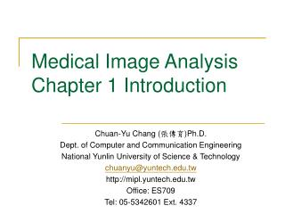 Medical Image Analysis Chapter 1 Introduction