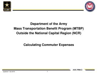 Department of the Army Mass Transportation Benefit Program MTBP Outside the National Capital Region NCR  Calculating Com