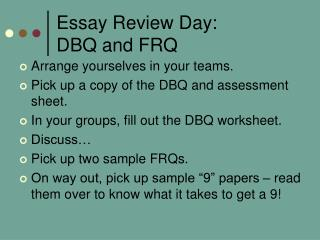Essay Review Day: DBQ and FRQ