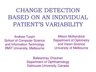 CHANGE DETECTION BASED ON AN INDIVIDUAL PATIENT'S VARIABILITY