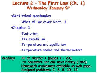 Lecture 2   The First Law Ch. 1 Wednesday January 9th
