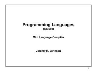 Programming Languages  (CS 550) Mini Language Compiler