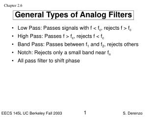 General Types of Analog Filters