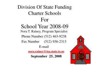Division Of State Funding Charter Schools  For School Year 2008-09