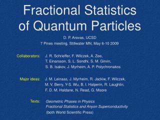 Fractional Statistics of Quantum Particles
