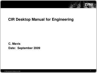 CIR Desktop Manual for Engineering