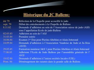Historique du JC Ballens: été 79 Réfection de la Chapelle pour accueillir le judo