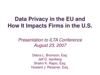Data Privacy in the EU and  How It Impacts Firms in the U.S.
