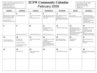52 FW Community Calendar  February 2009