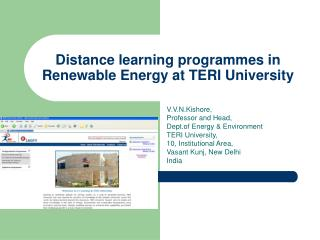 Distance learning programmes in Renewable Energy at TERI University