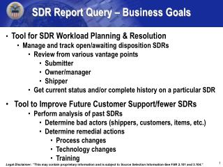 SDR Report Query � Business Goals