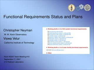 Functional Requirements Status and Plans