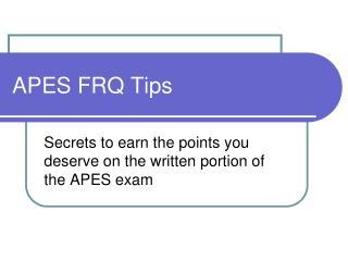 APES FRQ Tips