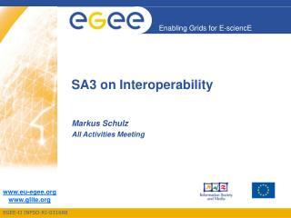 SA3 on Interoperability