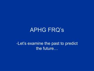 APHG FRQ�s