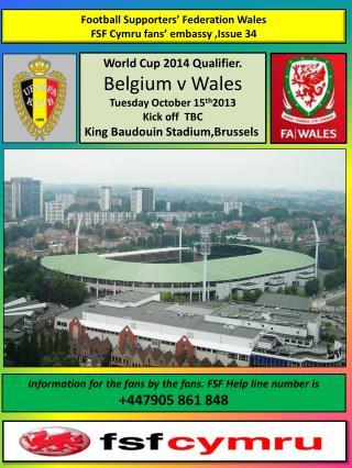 Football Supporters� Federation Wales FSF  Cymru fans� embassy ,Issue 34
