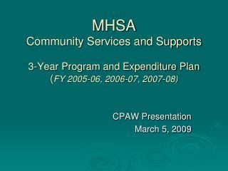 CPAW Presentation March 5, 2009