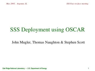 SSS Deployment using OSCAR