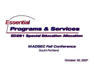 Programs & Services  ED281 Special Education Allocation