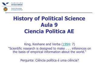 History of Political Science Aula 9 Ciencia Politica AE