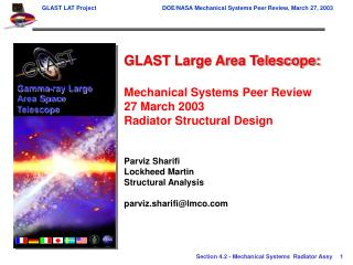 GLAST Large Area Telescope: Mechanical Systems Peer Review 27 March 2003
