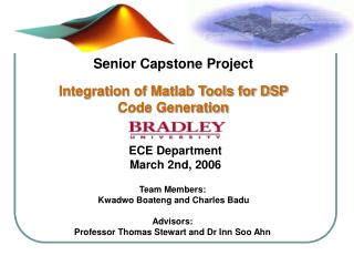 Senior Capstone Project Integration of Matlab Tools for DSP Code Generation
