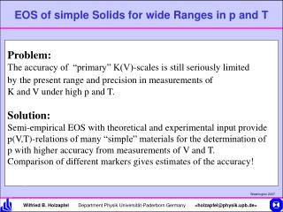 EOS of simple Solids for wide Ranges in p and T