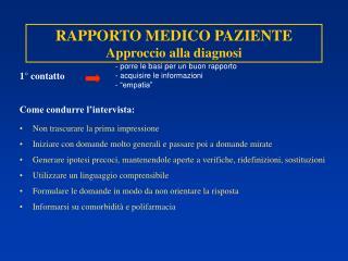 RAPPORTO MEDICO PAZIENTE Approccio alla diagnosi