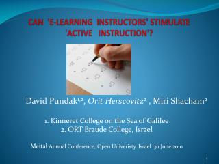 Can  'E-Learning  Instructors' stimulate  'ACTIVE   Instruction'?
