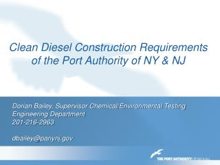 Clean Diesel Construction Requirements of the Port Authority of NY & NJ