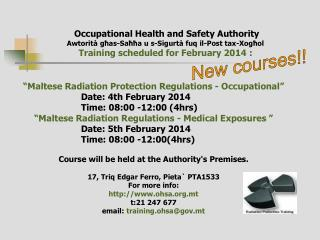 """Maltese Radiation Protection Regulations - Occupational"" 			Date:  4th February 2014"