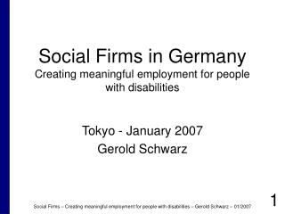 Social Firms in Germany Creating meaningful employment for people with disabilities