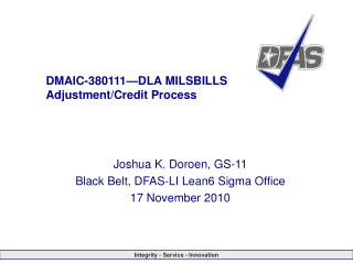 DMAIC-380111�DLA MILSBILLS Adjustment/Credit Process