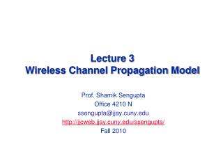 Lecture 3  Wireless Channel Propagation Model
