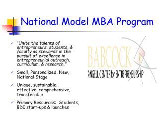 National Model MBA Program