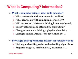 What is Computing? Informatics?