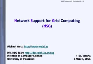 N etwork  S upport for  G rid Computing ( NSG )