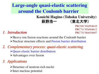 Large-angle quasi-elastic scattering            around the Coulomb barrier