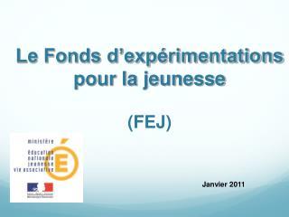 Le Fonds d'expérimentations  pour la jeunesse (FEJ)