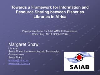 Towards a Framework for Information and Resource Sharing between Fisheries Libraries in Africa