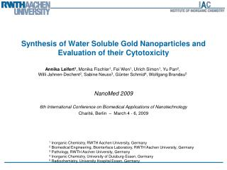 Synthesis of Water Soluble Gold Nanoparticles and Evaluation of their Cytotoxicity