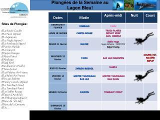 Plong é es de la Semaine au  Lagon Bleu!