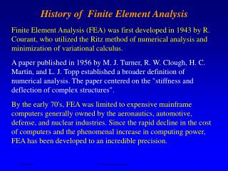History of  Finite Element Analysis