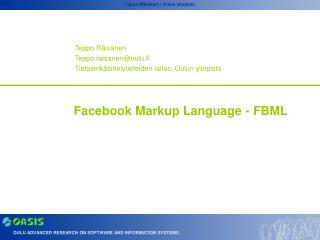 Facebook Markup Language - FBML