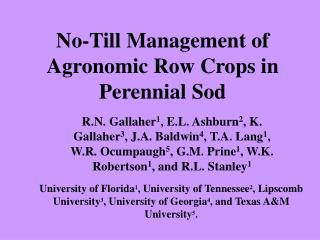 No-Till Management of Agronomic Row Crops in Perennial Sod