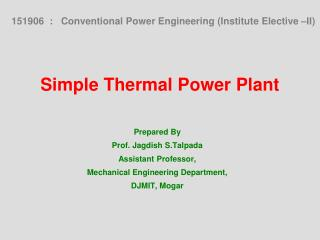 Simple Thermal Power Plant