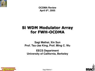 Si WDM Modulator Array for FWH-OCDMA