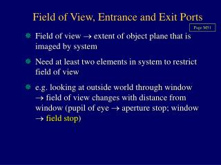 Field of View, Entrance and Exit Ports