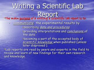 Writing a Scientific Lab Report